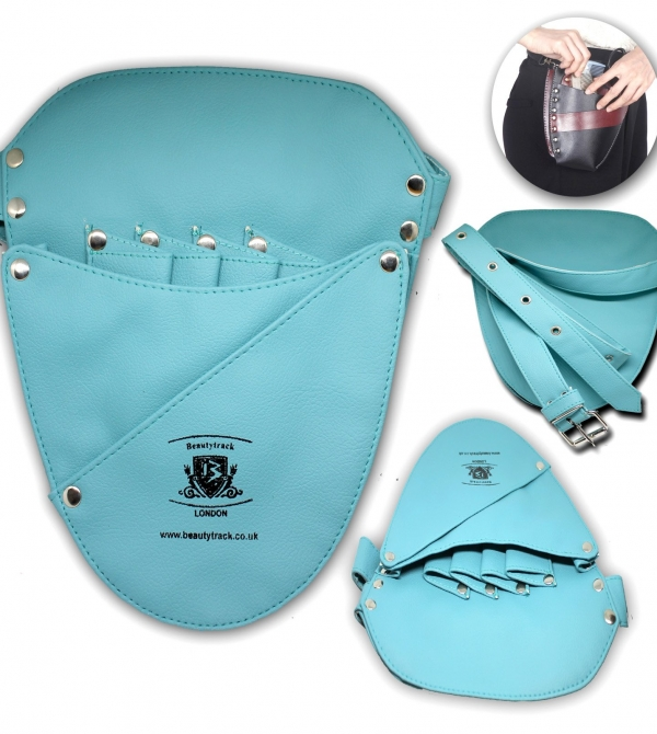 Hair Salon Barber Scissors Leather Holster Pouch Bag Ferozi