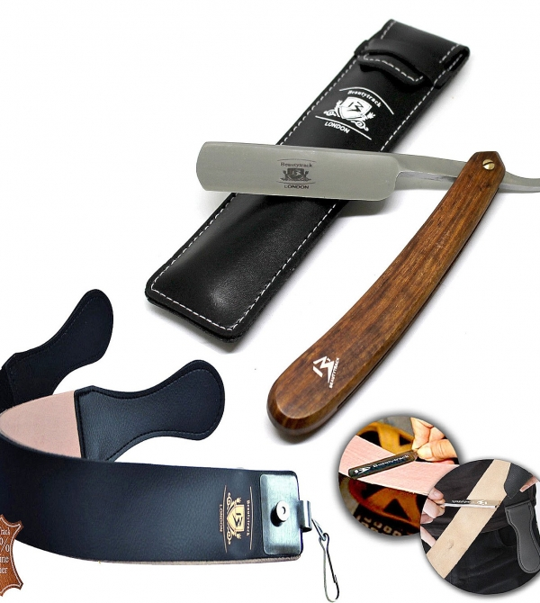 Wood Straight Razors Wet Shaving Cut Throat Razor Leather Strop Belt