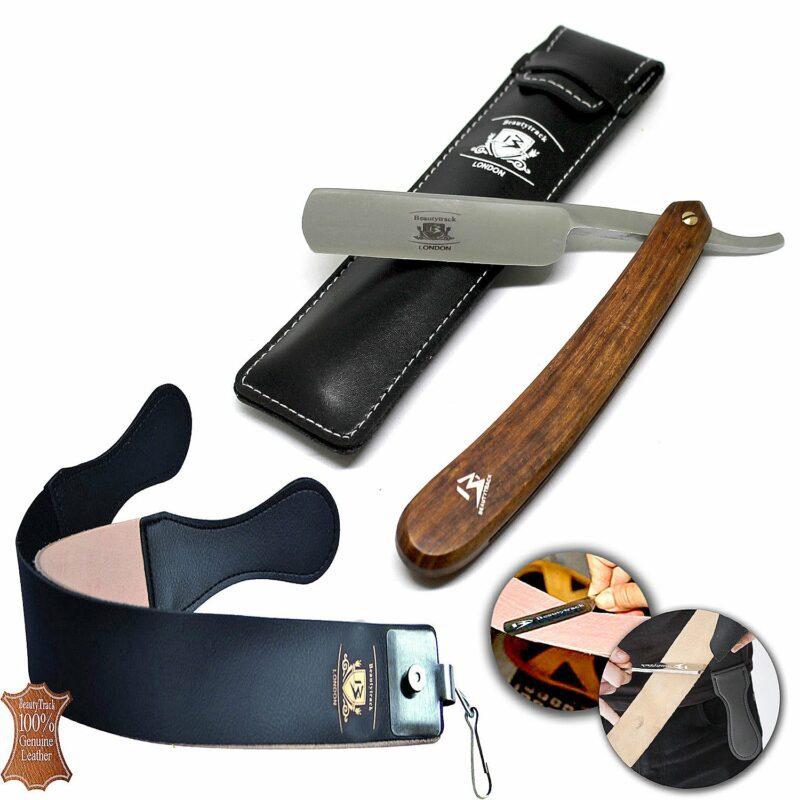 Wood Straight Razors Wet Shaving Cut Throat Razor Leather Strop Belt