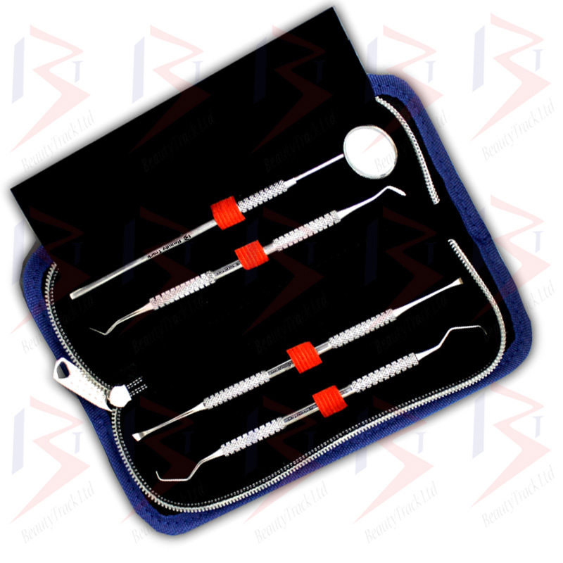 BeautyTrack Dental Oral Kit Scaler Probe Pick Set Mirror Steel Tools 3