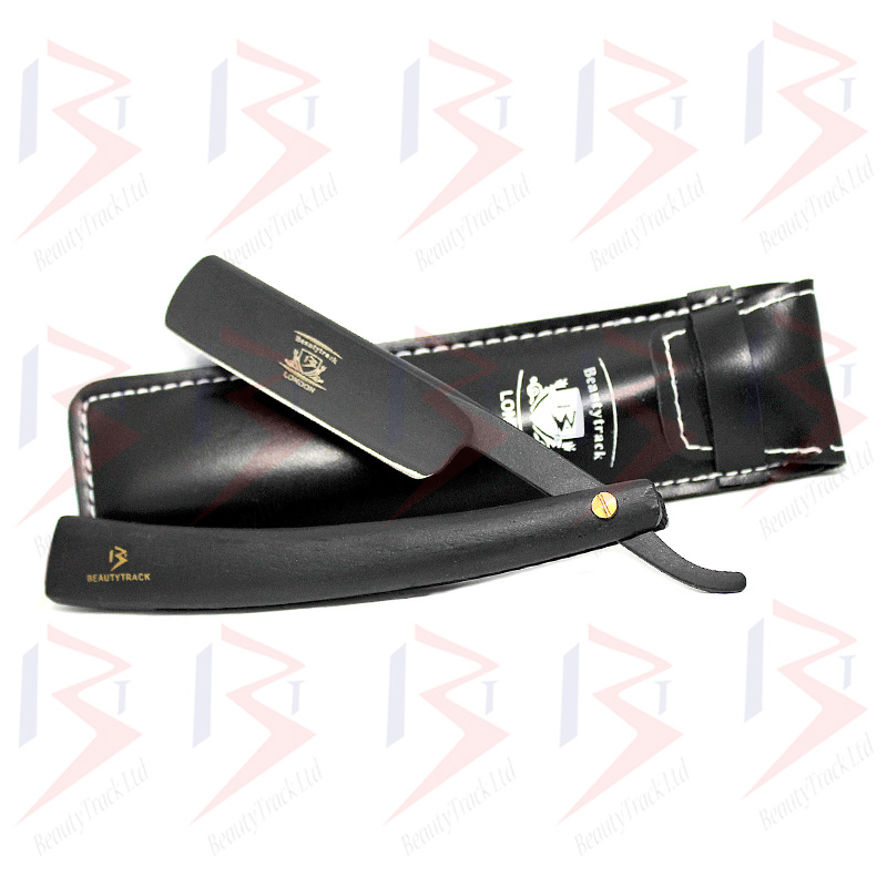 BeautyTrack Straight Cut Throat Razor Black Wood Men Shaving Razors 1