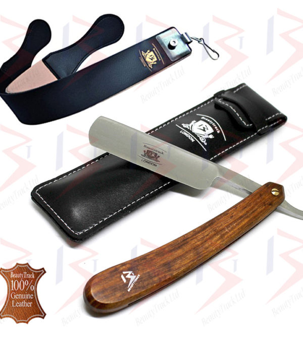 BeautyTrack Straight Cut Throat Razor Set Black Leather Strop Belt 1