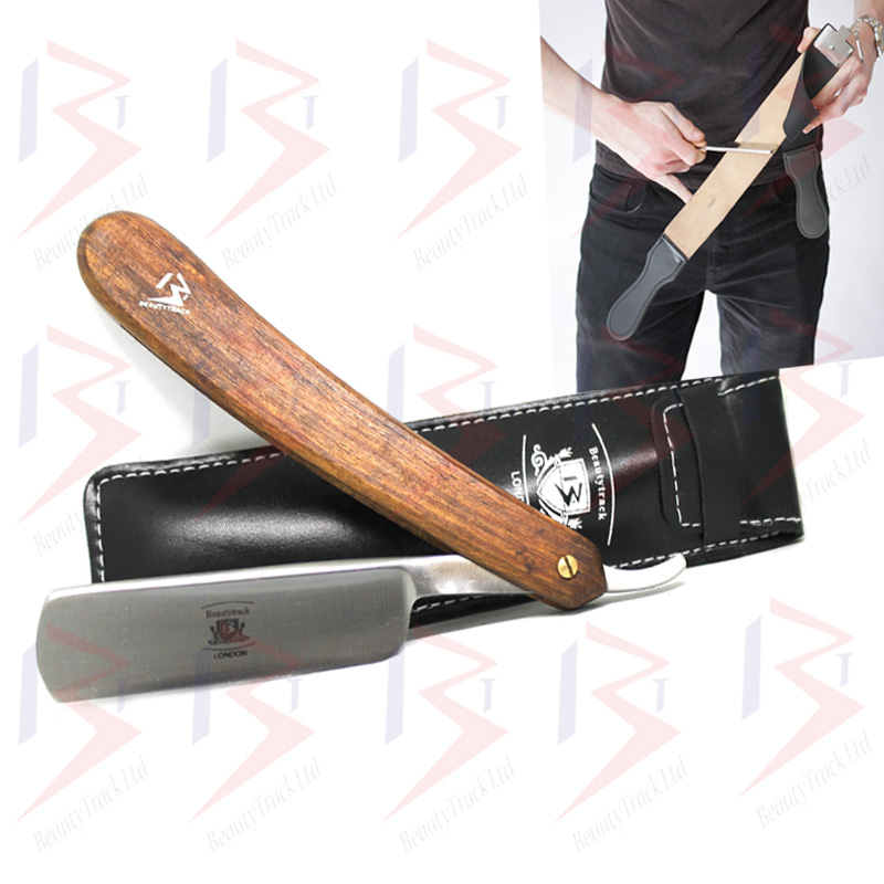BeautyTrack Straight Cut Throat Razor Set Black Leather Strop Belt 3