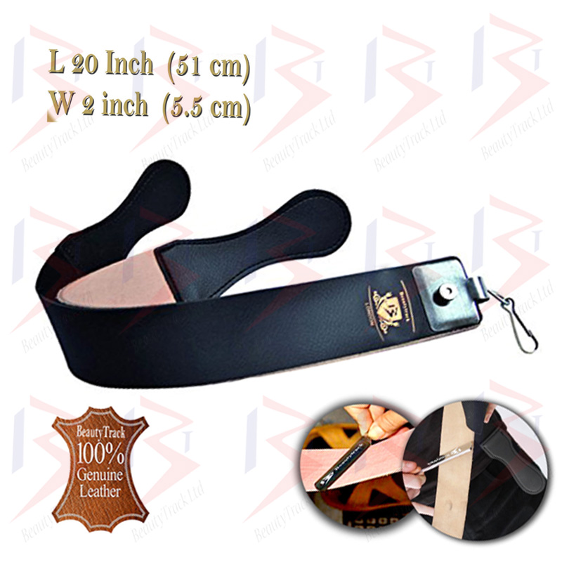 BeautyTrack Straight Cut Throat Razor Set Black Leather Strop Belt 4