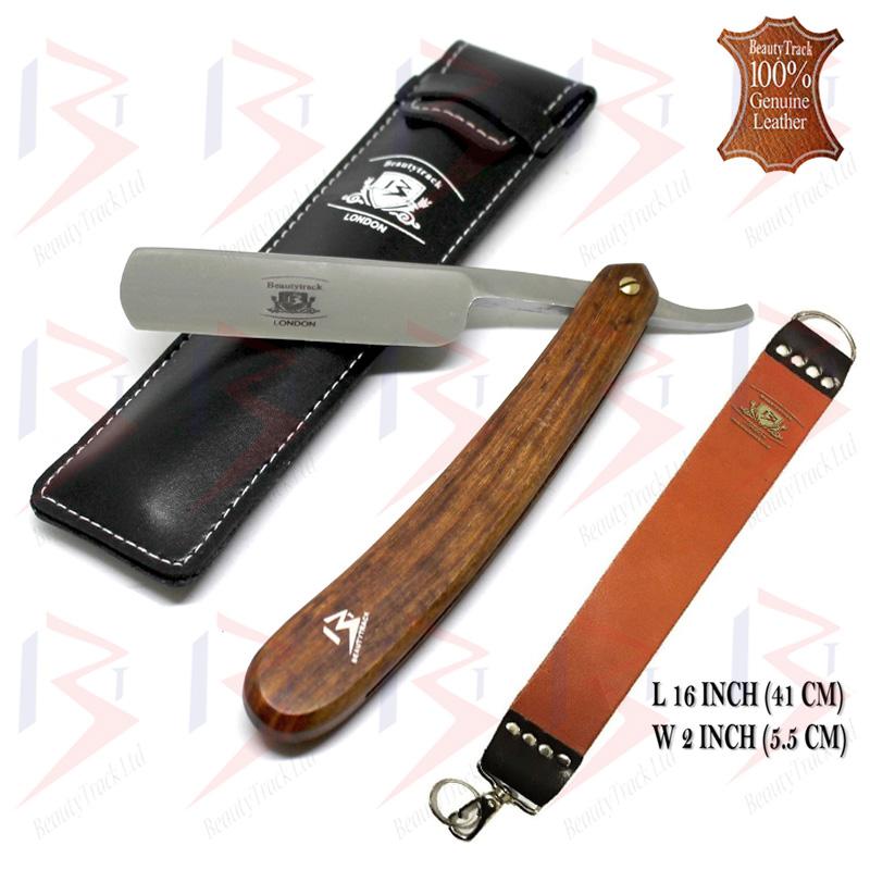 BeautyTrack Straight Cut Throat Razor Set Brown Leather Strop Belt 1