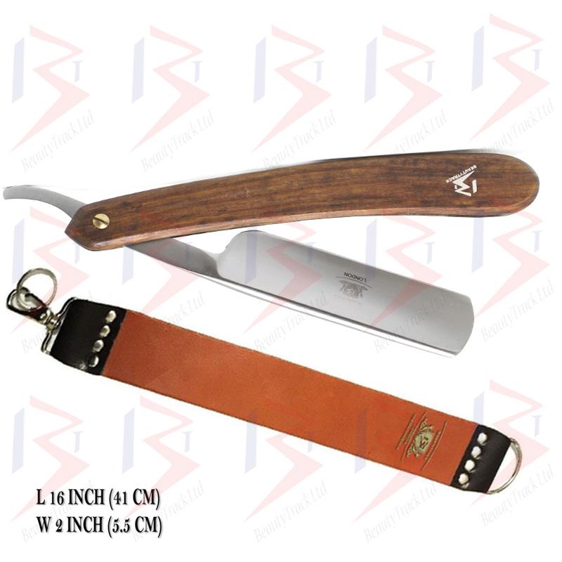 BeautyTrack Straight Cut Throat Razor Set Brown Leather Strop Belt 2