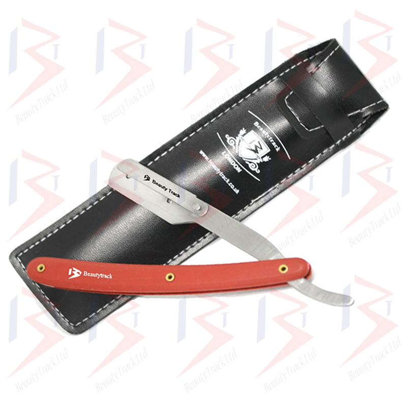 BeautyTrack Barber Salon Straight Cut Throat Shaving Razor Red 1