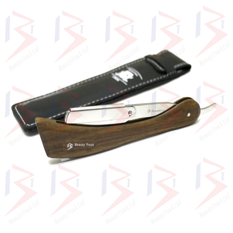 BeautyTrack Barber Salon Straight Cut Throat Shaving Razor Wood Handle 4