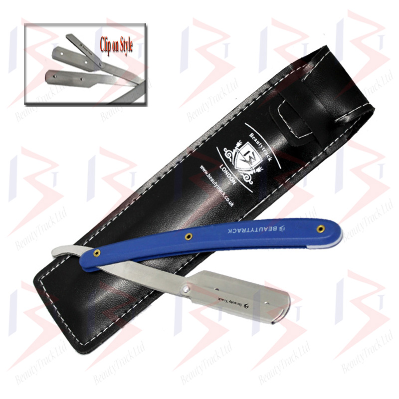 BeautyTrack Barber Straight Cut Throat Salon Shaving Razor Blue 3