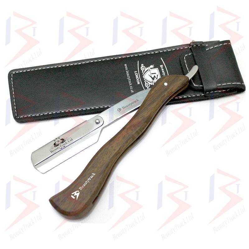BeautyTrack Barber Straight Cut Throat Shaving Razor Extra Long Wood Handle 1