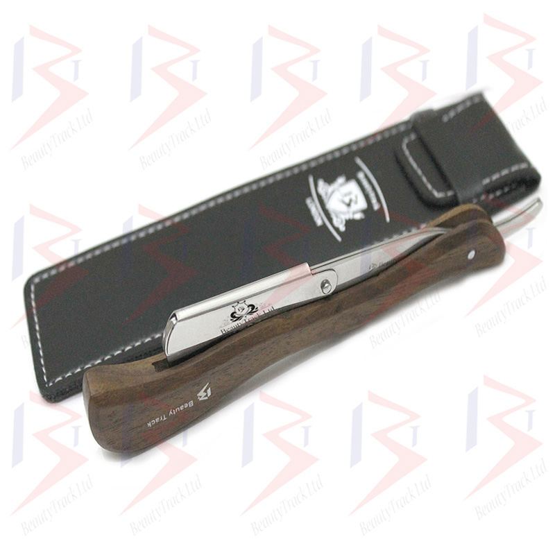 BeautyTrack Barber Straight Cut Throat Shaving Razor Extra Long Wood Handle 3