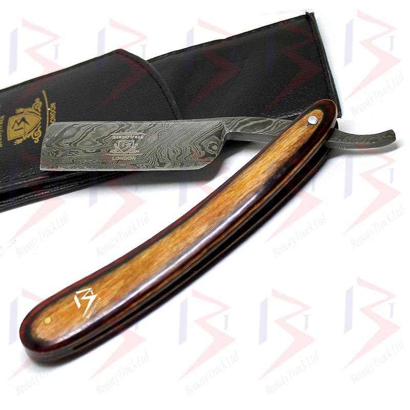 BeautyTrack Damascus Steel Straight Razor Handmade Stylish Wood Handle 1