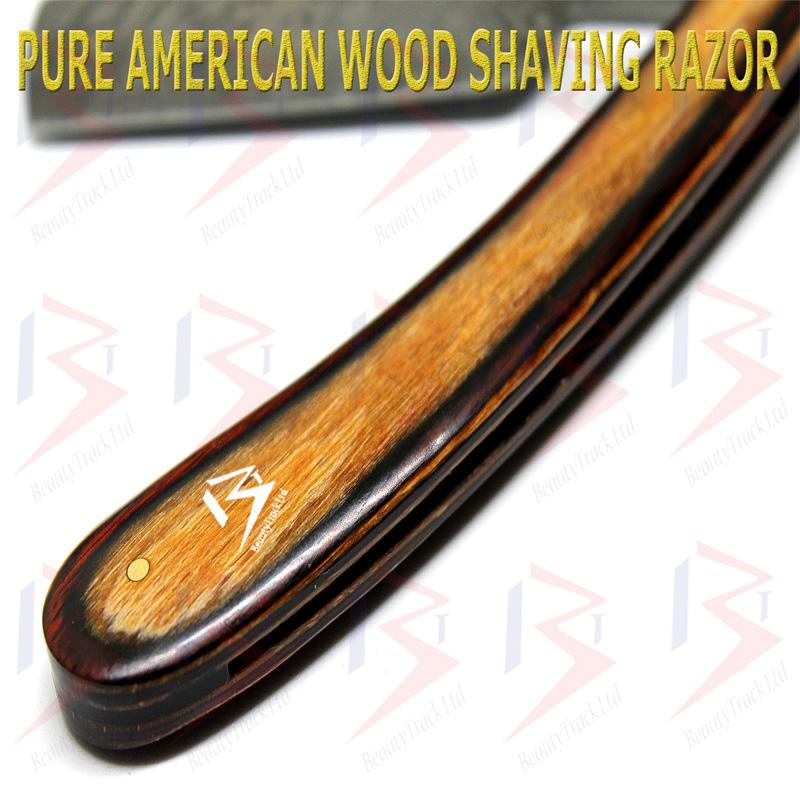 BeautyTrack Damascus Steel Straight Razor Handmade Stylish Wood Handle 5