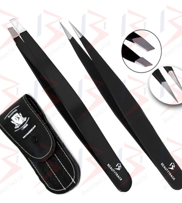 BeautyTrack Eyebrow Tweezers Set Hair Beauty Pointed And Slanted Black