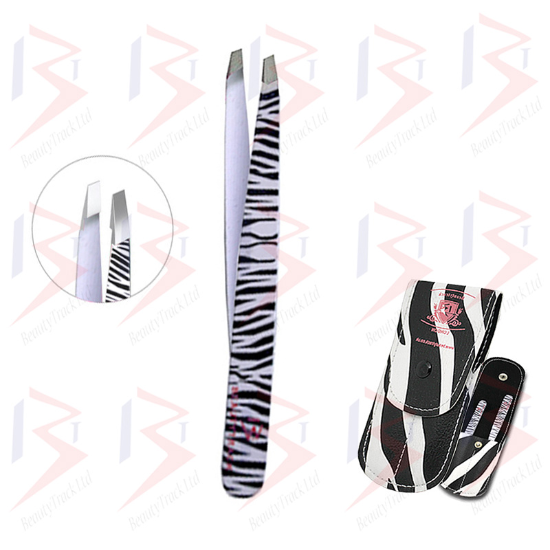 BeautyTrack Eyebrow Tweezers Set Hair Beauty Slanted Tweezer Zebra Print 3