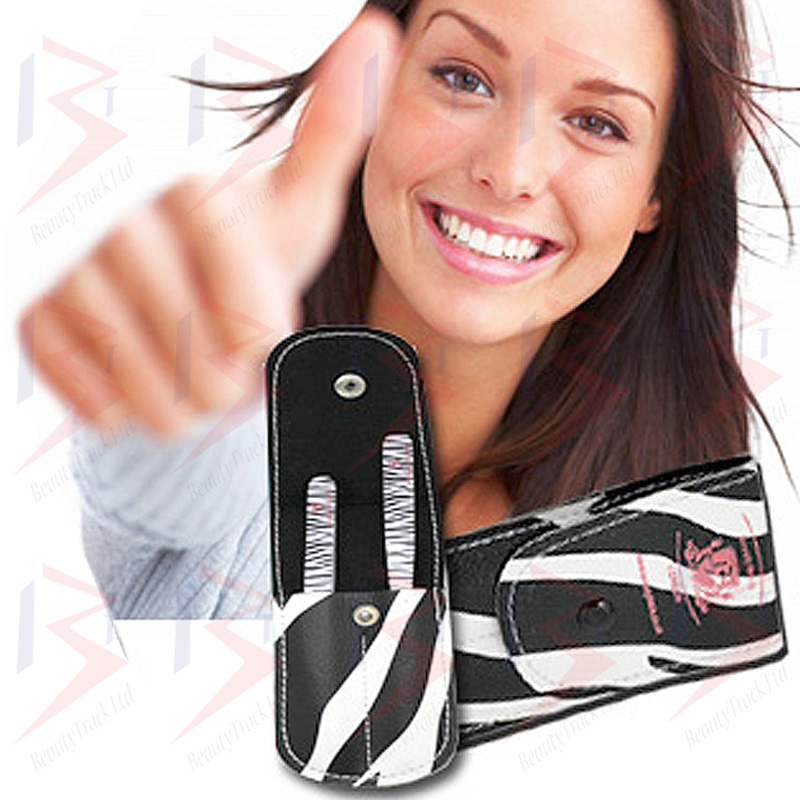 BeautyTrack Eyebrow Tweezers Set Hair Beauty Slanted Tweezer Zebra Print 4