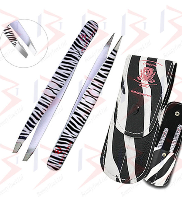 BeautyTrack Eyebrow Tweezers Set Hair Beauty Slanted Tweezer Zebra Print