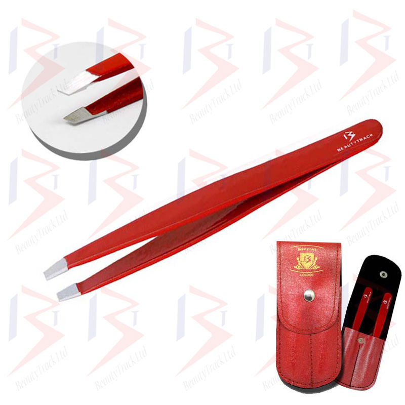 BeautyTrack Eyebrow Tweezers Set Slanted Tip Pointed Hair Beauty Red 1