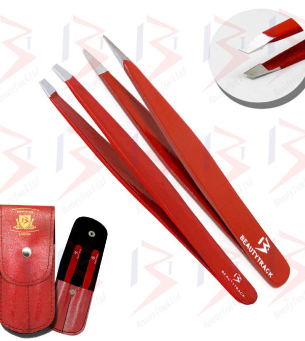 BeautyTrack Eyebrow Tweezers Set Slanted Tip Pointed Hair Beauty Red