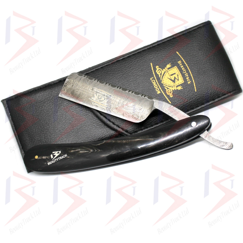 BeautyTrack Genuine Buffalo Horn Handle Damascus Steel Straight Razor 1