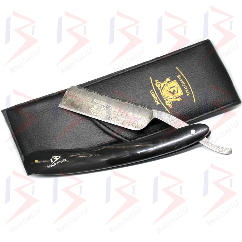 BeautyTrack Genuine Buffalo Horn Handle Damascus Steel Straight Razor 7