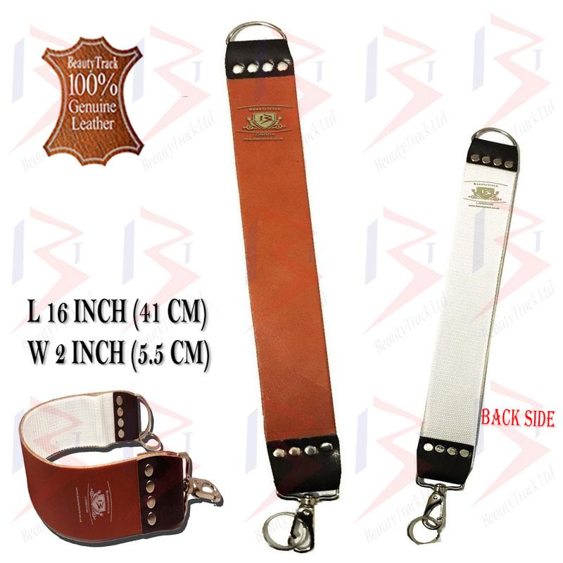 BeautyTrack Genuine Leather Sharpening Strop Strap Shaving Razor Belt Brown