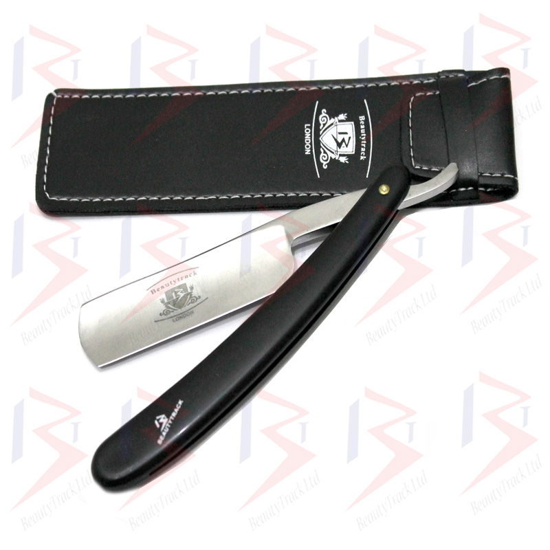 BeautyTrack Salon Straight Cut Throat Wet Shaving Razor Black 4