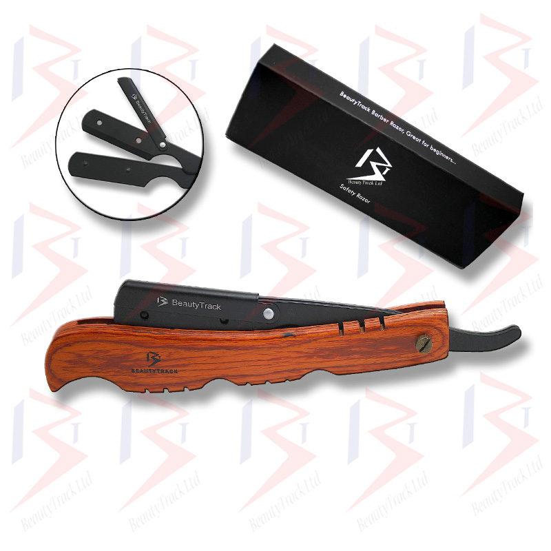 BeautyTrack Wood Handle Barber Straight Cut Throat Salon Shaving Razor 5
