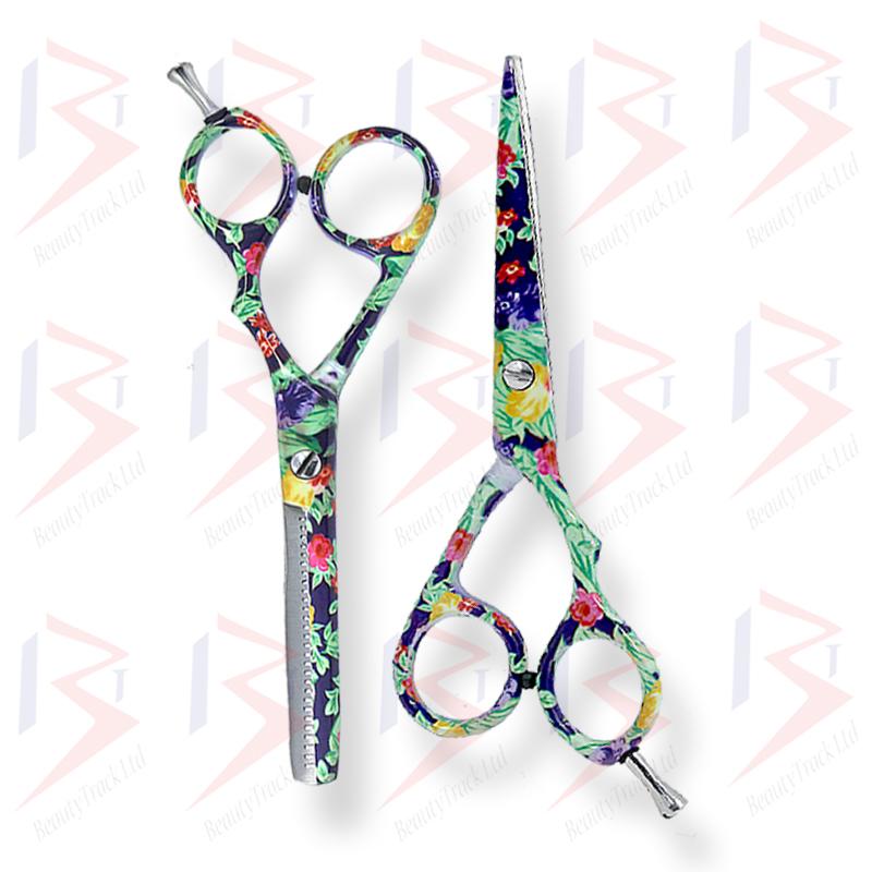 BeautyTrack Hairdressing Scissor Set Salon Shears 6 Flower Design 3