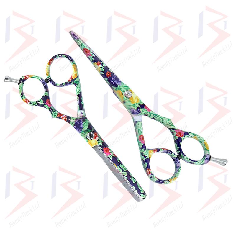 BeautyTrack Hairdressing Scissor Set Salon Shears 6 Flower Design