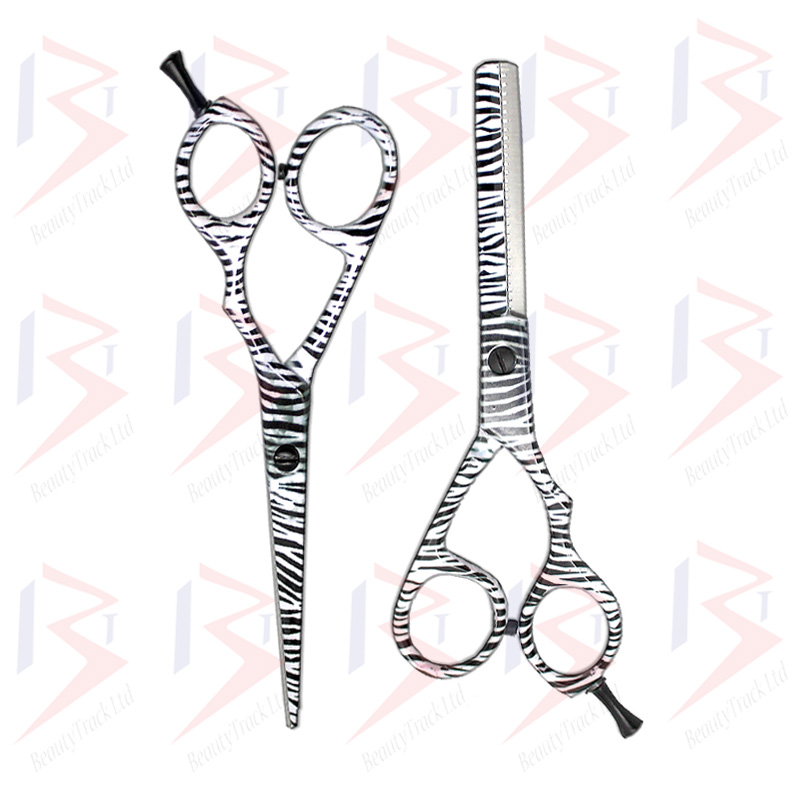 BeautyTrack Hairdressing Scissor Set Salon Shears 6 Zebra Print 5