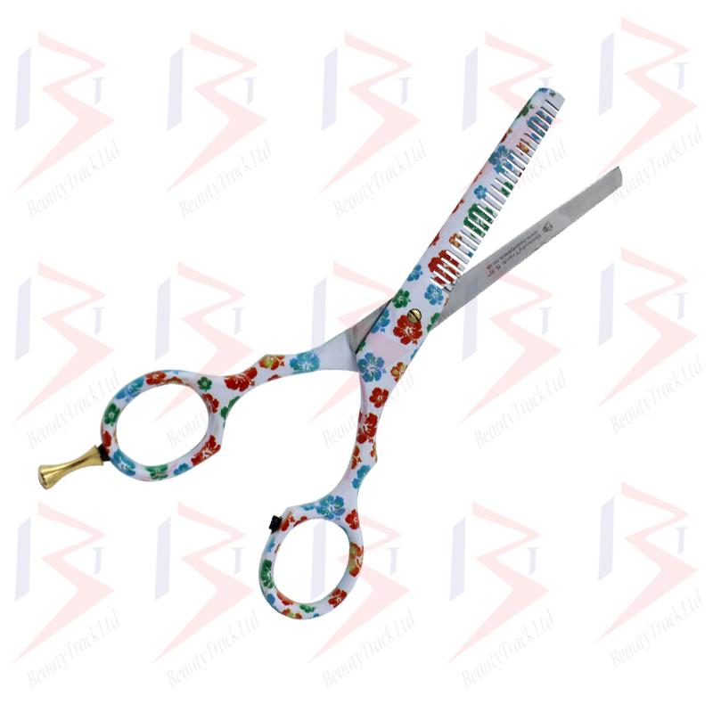 BeautyTrack Hairdressing Scissor Set Salon Thinning Shears 5.5 Flower Design 1