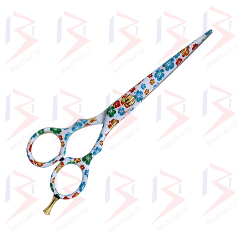 BeautyTrack Hairdressing Scissor Set Salon Thinning Shears 5.5 Flower Design 2