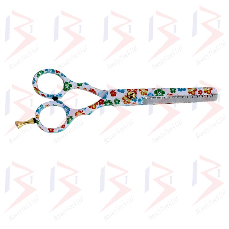 BeautyTrack Hairdressing Scissor Set Salon Thinning Shears 5.5 Flower Design 3