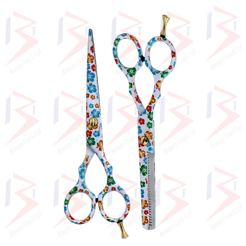 BeautyTrack Hairdressing Scissor Set Salon Thinning Shears 5.5 Flower Design 4