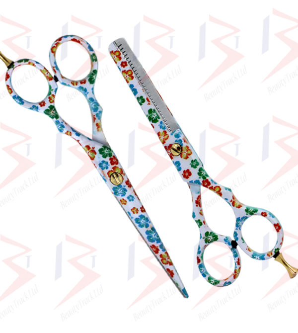 BeautyTrack Hairdressing Scissor Set Salon Thinning Shears 5.5 Flower Design