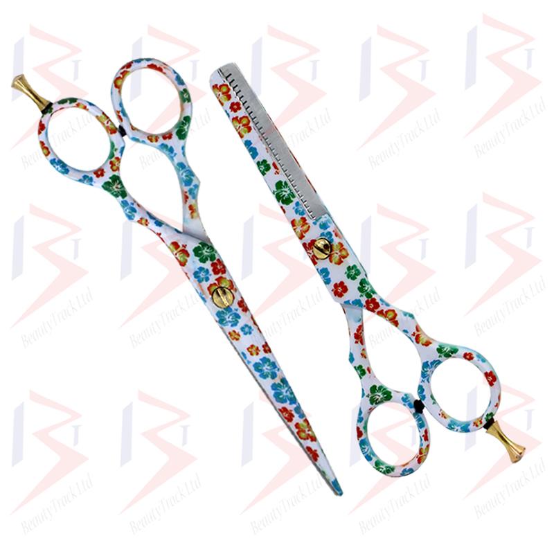 BeautyTrack Hairdressing Scissor Set Salon Thinning Shears 5.5 Flower Design