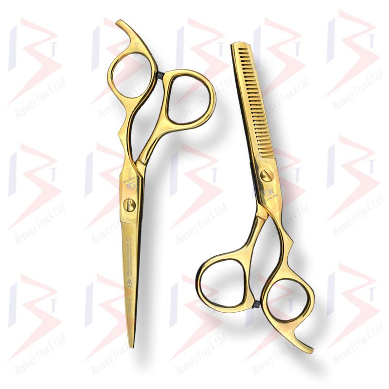 BeautyTrack Hairdressing Scissors Set Cobra Style Shears Gold 6.0 Inch 5