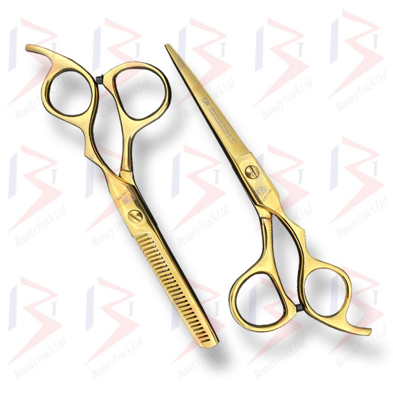 BeautyTrack Hairdressing Scissors Set Cobra Style Shears Gold 6.0 Inch