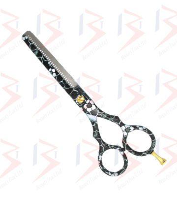 BeautyTrack Hairdressing Thinning Scissor Barber Salon Black Flower Print