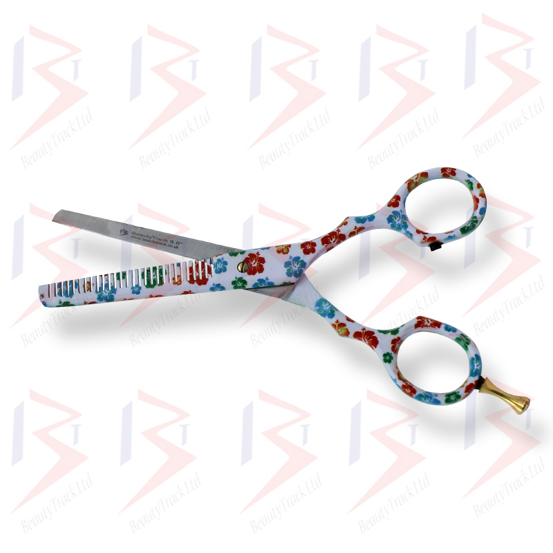 BeautyTrack Hairdressing Thinning Scissor Barber Salon Flower Design 1