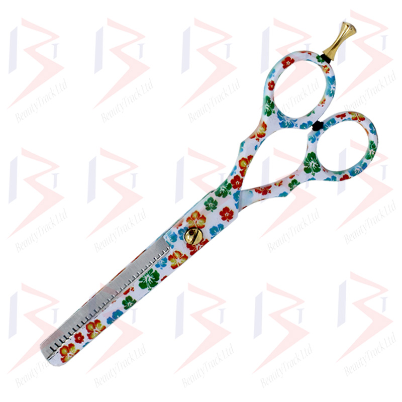 BeautyTrack Hairdressing Thinning Scissor Barber Salon Flower Design 2