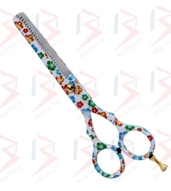 BeautyTrack Hairdressing Thinning Scissor Barber Salon Flower Design