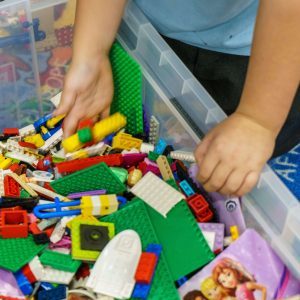 Playing with lego at the Beehive Club