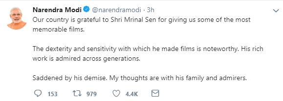 PM Modi on Mrinal Sen