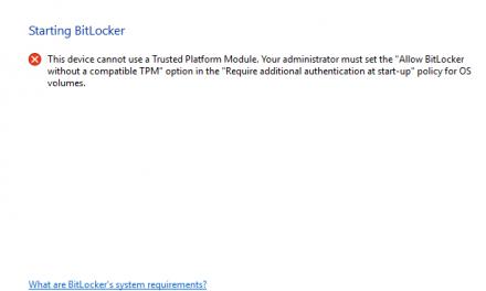 Device encryption with Bitlocker