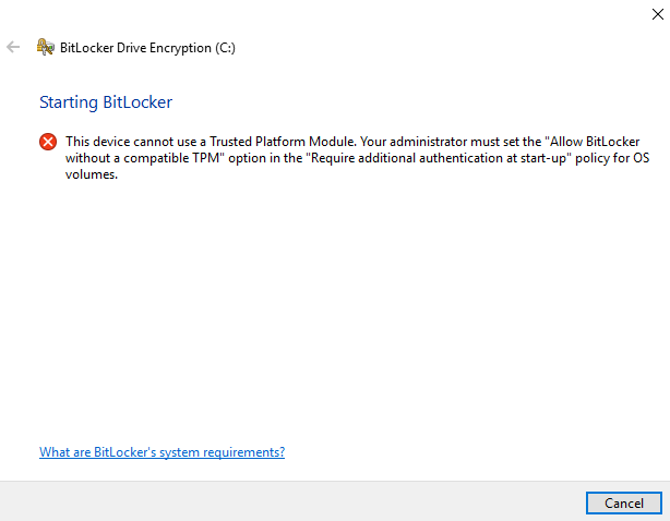 Device encryption with Bitlocker
