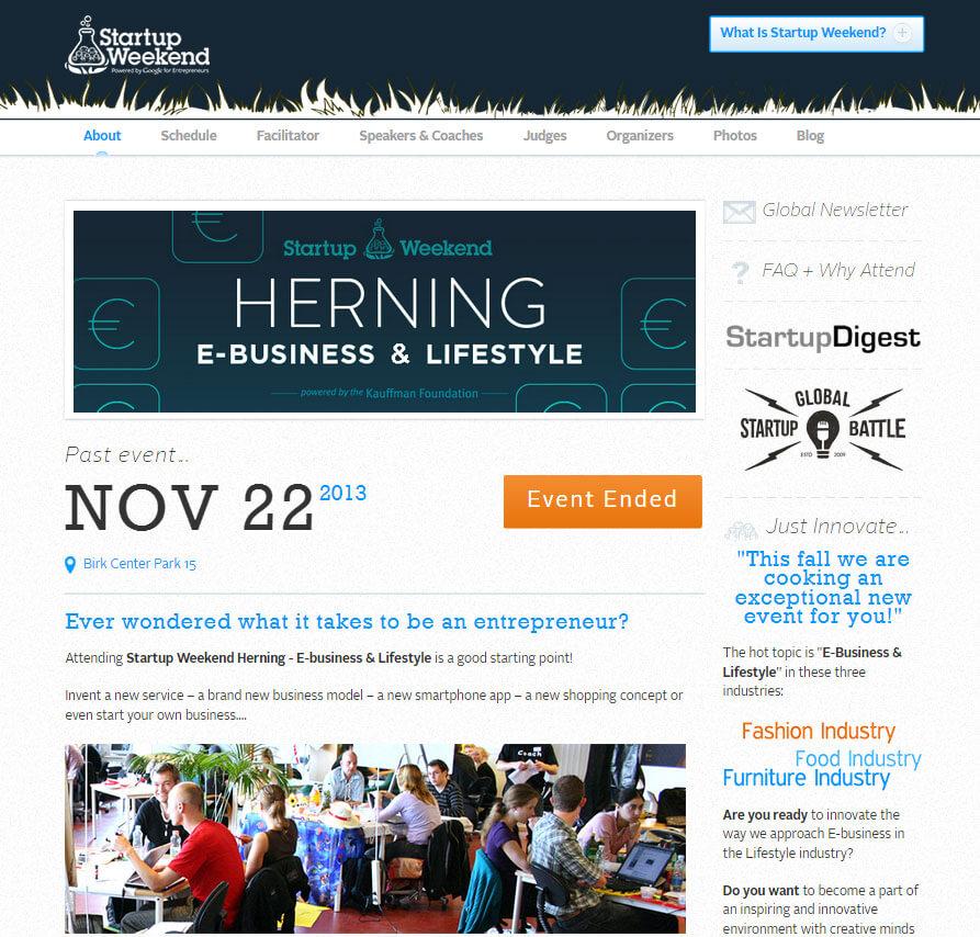 Startup Weekend website design
