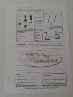 Duik Logboek Blaadjes Dive2adventure