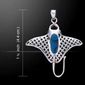 Zilveren Manta hanger met Paua inlay